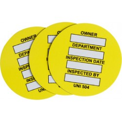 Brady - 108013 - Brady 1.715 Black/Yellow/White Universal Tag PVC OWNER: DEPARTMENT: INSPECTION DATE: INSPECTED BY:, ( Package )