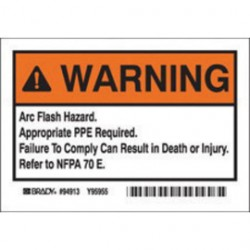 """Brady - 94913 - Brady 3 1/2"""" X 5"""" Black Polyester Arc Flash Label """"WARNING - ARC FLASH HAZARD. APPROPRIATE PPE REQUIRED. FAILURE TO COMPLY CAN RESULT IN DEATH OR INJURY. REFER TO NFPPA 70 E."""", ( Package )"""