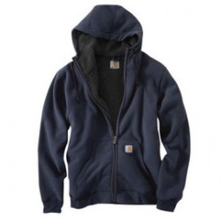 Carhartt - 35481971600 - Carhartt Large Tall New Navy Sherpa Lined 10.5 Ounce Cotton Polyester Brushed Sweatshirt With Front Zipper Closure Attached Hood With Draw Cord Closure, Spandex-Reinforced Rib-Knit Cuffs And Waistband, ( Each )
