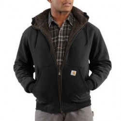Carhartt - 35481971136 - Carhartt Small Regular Black Sherpa Lined 10.5 Ounce Cotton Polyester Brushed Sweatshirt With Front Zipper Closure Attached Hood With Draw Cord Closure, Spandex-Reinforced Rib-Knit Cuffs And Waistband, ( Each )