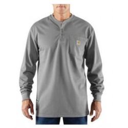 Carhartt - 886859026299 - Carhartt Size 2X/Regular Light Gray Knit Long-Sleeve Flame-Resistant T-Shirt With Button Closure, ( Each )