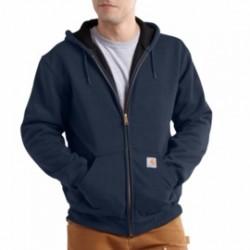 Carhartt - 886859461625 - Carhartt Medium Regular Navy Rutland Thermal Lined 12 Ounce Cotton And Polyester Water Repellent Sweatshirt With Front Zipper Closure, ( Each )
