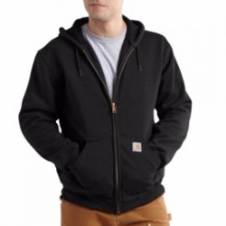 Carhartt - 886859293578 - Carhartt X-Large Tall Black Rutland Thermal Lined 12 Ounce Cotton And Polyester Water Repellent Sweatshirt With Front Zipper Closure, ( Each )
