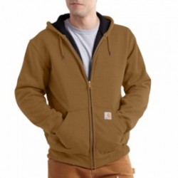 Carhartt - 886859294377 - Carhartt 2X Tall Brown Rutland Thermal Lined 12 Ounce Cotton And Polyester Water Repellent Sweatshirt With Front Zipper Closure, ( Each )