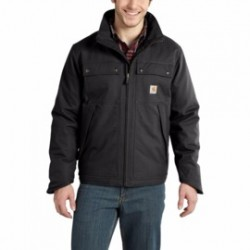 Carhartt - 886859605005 - Carhartt Small Regular Black Jefferson Traditional ThinsulateLined 8.5 Ounce Quick Duck Cotton And Polyester Water Repellent Jacket With Front Zipper Closure, ( Each )