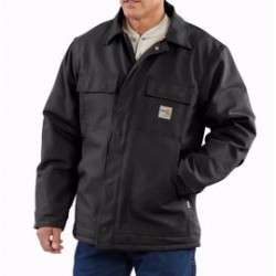 Carhartt - 886859744483 - Carhartt Large/Tall Black Cotton/Duck Flame-Resistant Coat With Insulated Lining And Zipper Closure And Under-Collar Snaps For Optional Fr Hood, ( Each )