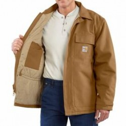 Carhartt - 886859744933 - Carhartt Size 4X/Regular Carhartt Brown Cotton/Duck Flame-Resistant Coat With Insulated Lining And Zipper Closure And Under-Collar Snaps For Optional Fr Hood, ( Each )
