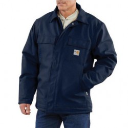 Carhartt - 886859745350 - Carhartt Small/Regular Dark Navy Cotton/Duck Flame-Resistant Coat With Insulated Lining And Zipper Closure And Under-Collar Snaps For Optional Fr Hood, ( Each )
