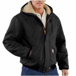 Carhartt - 101621-001TLLLA - Carhartt Large/Tall Black Cotton/Duck Flame-Resistant Jacket With Insulated Lining And Zipper Closure And Attached Quilt-Lined Hood With Adjustable Nomex Fr Draw Cord