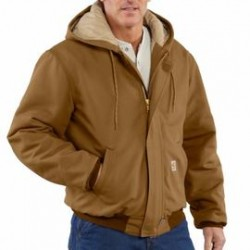 Carhartt - 886859747361 - Carhartt Large/Regular Carhartt Brown Cotton/Duck Flame-Resistant Jacket With Insulated Lining And Zipper Closure And Attached Quilt-Lined Hood With Adjustable Nomex Fr Draw Cord, ( Each )