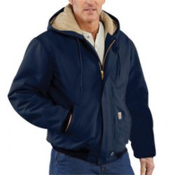 Carhartt - 101621-410TLLLA - Carhartt Large/Tall Dark Navy Cotton/Duck Flame-Resistant Jacket With Insulated Lining And Zipper Closure And Attached Quilt-Lined Hood With Adjustable Nomex Fr Draw Cord