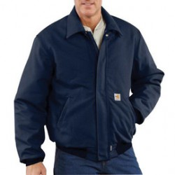 Carhartt - 886859749198 - Carhartt Small/Regular Dark Navy Cotton/Duck Flame-Resistant Jacket With Insulated Lining And Zipper Closure And Nomex Fr Rib-Knit Cuffs And Waistband, ( Each )