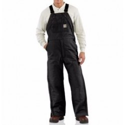 """Carhartt - 886859751863 - Carhartt Size 32"""" X 34"""" Black Cotton/Duck Flame-Resistant Bib Overalls With Insulated Lining And Zipper Closure And Ankle-To-Thigh Brass Leg Zippers With Nomex Fr Zipper Tape And Protective Flaps With Arc-Resistant Snap"""