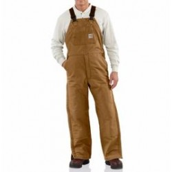 """Carhartt - 886859753843 - Carhartt 34"""" X 30"""" Brown Cotton Duck Flame Resistant Bib Overall With Quilt Lining, Zipper And Snap Closure, Elastic Suspenders, Nylon Center-Release Buckles And Utility Pocket, ( Each )"""