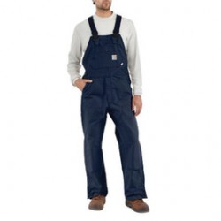 """Carhartt - 886859759692 - Carhartt Size 38"""" X 32"""" Dark Navy Cotton/Duck Flame-Resistant Bib Overalls With Zipper Closure And Ankle-To-Above Knee Brass Leg Zippers With Nomex Fr Zipper Tape And Protective Flaps With Arc-Resistant Snap Closures, ("""