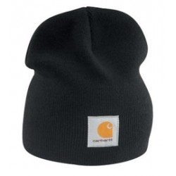 Carhartt - 35481416910 - Carhartt Black 100% Acrylic Rib-Knit Fabric Beanie Knitted Hat, ( Each )