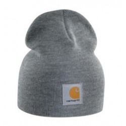 Carhartt - 35481219085 - Carhartt Heather Gray 100% Acrylic Rib-Knit Fabric Beanie Knitted Hat, ( Each )