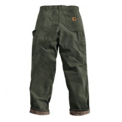 """Carhartt - 35481119026 - Carhartt 40"""" X 32"""" Moss Flannel Lined 12 Ounce Cotton Duck Washed Dungaree (2) Reinforced Back Pockets, Hammer Loop, Multiple Tool And Utility Pockets, ( Each )"""
