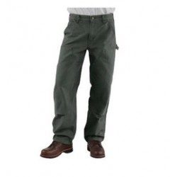 """Carhartt - 35481175275 - Carhartt Size 40"""" X 34"""" Moss 12 Ounce Cotton Duck Straight Leg Loose Fit Jeans With Zipper Front Closure, Double front with cleanout openings that accommodate knee pads And, ( Each )"""