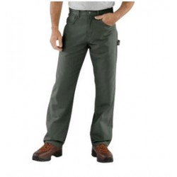 """Carhartt - 35481583315 - Carhartt Size 33"""" X 32"""" Dark Moss 8.5 Ounce Canvas Straight Leg Pants With Zipper Front Closure, Cell phone pocket and utility pocket And, ( Each )"""