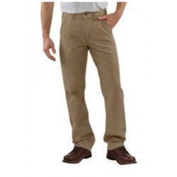 Carhartt - 35481749964 - Carhartt Size 38 X 30 Golden Khaki 8.5 Ounce Canvas Straight Leg Relaxed Fit Pant With Zipper Front Closure, Cell phone pocket And, ( Each )