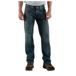 Carhartt - 35481830426 - Carhartt Size 36 X 34 Weathered Blue 11.75 Ounce Denim Straight Leg Relaxed Fit Jeans With Zipper Front Closure, And, ( Each )