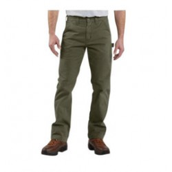 """Carhartt - 35481815133 - Carhartt Size 33"""" X 32"""" Army Green 9.25 Ounce Twill Straight Leg Relaxed Fit Dungaree With Zipper Front Closure, Multiple tool and utility pockets And Left-leg hammer loop, ( Each )"""