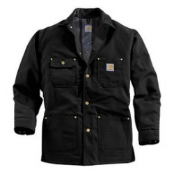 Carhartt - 35481857447 - Carhartt Small Regular Black Flannel Quilt Body Nylon Quilt Sleeves Lined 12 Ounce Heavy Weight Cotton Duck Chore Coat With Five Metal Buttons Down The Front Closure Triple-Stitched Seams (2) Rivet-Reinforced Chest Pockets And