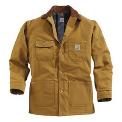 Carhartt - 35481857577 - Carhartt Large Regular Brown Flannel Quilt Body Nylon Quilt Sleeves Lined 12 Ounce Heavy Weight Cotton Duck Chore Coat With Five Metal Buttons Down The Front Closure Triple-Stitched Seams (2) Rivet-Reinforced Chest Pockets And