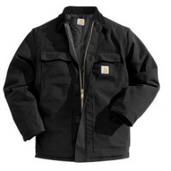 Carhartt - 35481741340 - Carhartt Large Tall Black Nylon Quilt Lined 12 Ounce Cotton Duck Arctic Traditional Coat With Front Zipper, Hook And Loop Closure Triple-Stitched Seams (2) Chest Pockets, (2) Front Pockets And (2) Inside Pockets, ( Each )