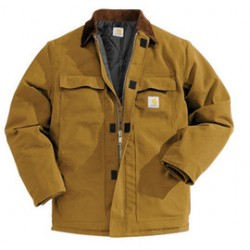 Carhartt - 35481741425 - Carhartt Medium Regular Brown Nylon Quilt Lined 12 Ounce Cotton Duck Arctic Traditional Coat With Front Zipper, Hook And Loop Closure Triple-Stitched Seams (2) Chest Pockets, (2) Front Pockets And (2) Inside Pockets, ( Each )