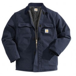 Carhartt - 35481914300 - Carhartt 5X Regular Dark Navy Nylon Quilt Lined 12 Ounce Cotton Duck Arctic Traditional Coat With Front Zipper, Hook And Loop Closure Triple-Stitched Seams (2) Chest Pockets, (2) Front Pockets And (2) Inside Pockets, ( Each )