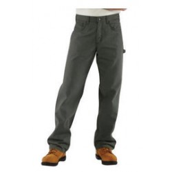 """Carhartt - 35481734502 - Carhartt Size 32"""" X 34"""" Moss Canvas Straight Leg Flame-Resistant Canvas Pants With Front Zipper Closure And Cell Phone Pocket On Left Leg And Multiple Utility Pocket On Right Leg, ( Each )"""