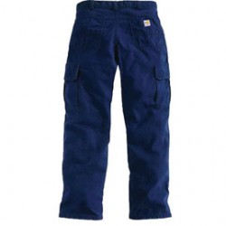 Carhartt - 35481704260 - Carhartt Size 30 X 32 Dark Navy Canvas Straight Leg Flame-Resistant Cargo Pants With Zipper Closure And Two Large Side Cargo Pockets With Pen Slots, ( Each )