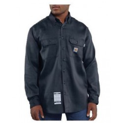 Carhartt - 35481807893 - Carhartt Large/Tall Dark Navy Twill Long-Sleeve Flame-Resistant Wovens With Button Closure And Two Chest Pockets With Flaps And Button Closures, ( Each )