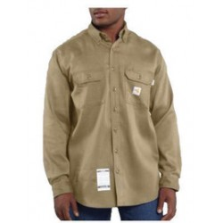 Carhartt - 35481808067 - Carhartt Size 4X/Tall Khaki Twill Long-Sleeve Flame-Resistant Shirt With Button Closure And Two Chest Pockets With Flaps And Button Closures, ( Each )
