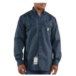 Carhartt - 35481509100 - Carhartt Large/Regular Dark Navy Twill Long-Sleeve Flame-Resistant Shirt With Button Closure And Two Chest Pockets With Flaps And Button Closures, ( Each )