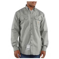 Carhartt - 35481686245 - Carhartt Medium/Regular Gray Twill Long-Sleeve Flame-Resistant Shirt With Button Closure And Two Chest Pockets With Flaps And Button Closures, ( Each )