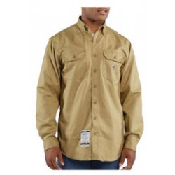 Carhartt - 35481502637 - Carhartt Medium/Tall Khaki Twill Long-Sleeve Flame-Resistant Shirt With Button Closure And Two Chest Pockets With Flaps And Button Closures, ( Each )