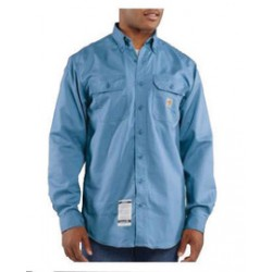 Carhartt - 35481508950 - Carhartt Large/Tall Medium Blue Twill Long-Sleeve Flame-Resistant Shirt With Button Closure And Two Chest Pockets With Flaps And Button Closures, ( Each )
