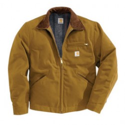 Carhartt - 35481857744 - Carhartt Medium Regular Brown Flannel Quilt Body Nylon Quilt Sleeves Lined 12 Ounce Heavy Weight Cotton Duck Detroit Jacket Triple-Stitched Seams (2) Lower Front Pockets, Left-Chest Pocket And Inside Welt Pocket, ( Each )