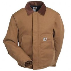 Carhartt - 35481858062 - Carhartt Large Tall Brown Nylon Quilt Lined 12 Ounce Heavy Weight Cotton Duck Arctic Traditional Jacket With Front Zipper, Hook And Loop Closure Triple-Stitched Seams (2) Lower Front Pockets, (2) Inside Pockets And Split Back, (