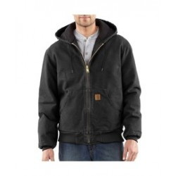 Carhartt - 35481386756 - Carhartt Medium Tall Black Flannel Quilt Lined 12 Ounce Cotton Duck Jacket With Front Zipper Closure, Triple Stitched Seam, Attached Hood And (4) Pockets, ( Each )
