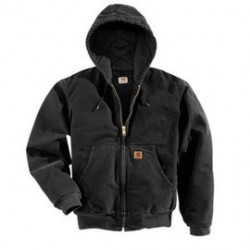Carhartt - 35481386862 - Carhartt Small Regular Black Flannel Quilt Body Nylon Quilt Sleeves Lined 12 Ounce Heavy Weight Cotton Duck Sandstone Active Jacket With Front Zipper Closure Triple-Stitched Seams (2) Inside Pockets, (2) Deep Hand-Warmer Pockets,