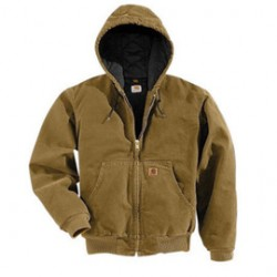 Carhartt - 35481802270 - Carhartt 3X Regular Brown Flannel Quilt Body Nylon Quilt Sleeves Lined 12 Ounce Heavy Weight Cotton Duck Sandstone Active Jacket With Front Zipper Closure Triple-Stitched Seams (2) Inside Pockets, (2) Deep Hand-Warmer Pockets,