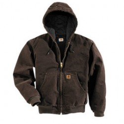Carhartt - 35481386640 - Carhartt 2X Regular Dark Brown Flannel Quilt Body Nylon Quilt Sleeves Lined 12 Ounce Heavy Weight Cotton Duck Sandstone Active Jacket With Front Zipper Closure Triple-Stitched Seams (2) Inside Pockets, (2) Deep Hand-Warmer