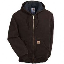 Carhartt - 35481386688 - Carhartt Medium Tall Dark Brown Flannel Quilt Lined 12 Ounce Cotton Duck Jacket With Front Zipper Closure, Triple Stitched Seam, Attached Hood And (4) Pockets, ( Each )