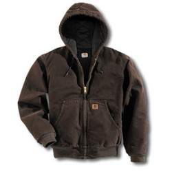 Carhartt - 35481386602 - Carhartt Medium Regular Dark Brown Flannel Lined 12 Ounce Cotton Duck Jacket With Front Zipper Closure, Triple Stitched Seam, Attached Hood And (4) Pockets, ( Each )