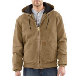 Carhartt - 35481917547 - Carhartt 4X Tall Frontier Brown Flannel Quilt Body Nylon Quilt Sleeves Lined 12 Ounce Heavy Weight Cotton Duck Sandstone Active Jacket With Front Zipper Closure Triple-Stitched Seams (2) Inside Pockets, (2) Deep Hand-Warmer