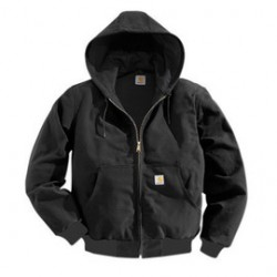 Carhartt - 35481190551 - Carhartt Medium Regular Black Polyester Thermal Lined 12 Ounce Heavy Weight Cotton Duck Active Jacket With Front Zipper Closure Triple-Stitched Seams (2) Large Hand-Warmer Pockets, (2) Inside Pockets And Attached Hood, ( Each )